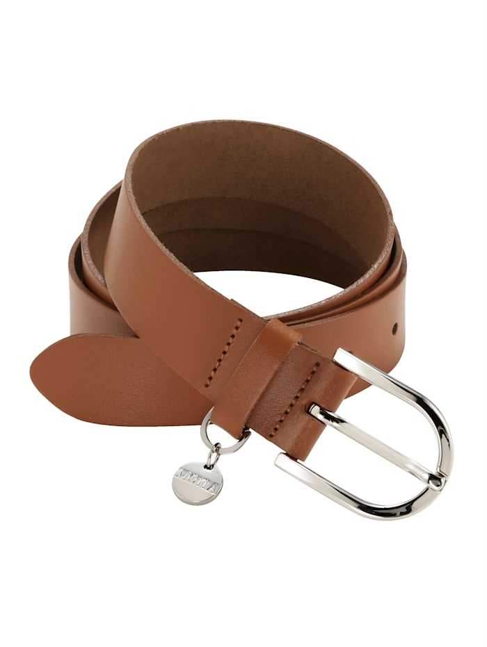 MONA Leather belt with MONApendant, Cognac