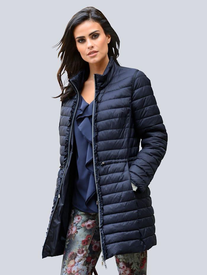 Alba Moda Jacke mit dekorativem Volantbesatz am Reißverschluß, Dunkelblau