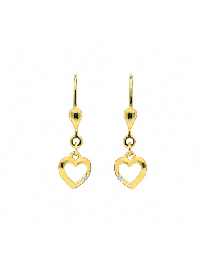 1001 Diamonds 1001 Diamonds Damen Goldschmuck 333 Gold Ohrringe / Ohrhänger Herz mit Zirkonia, gold
