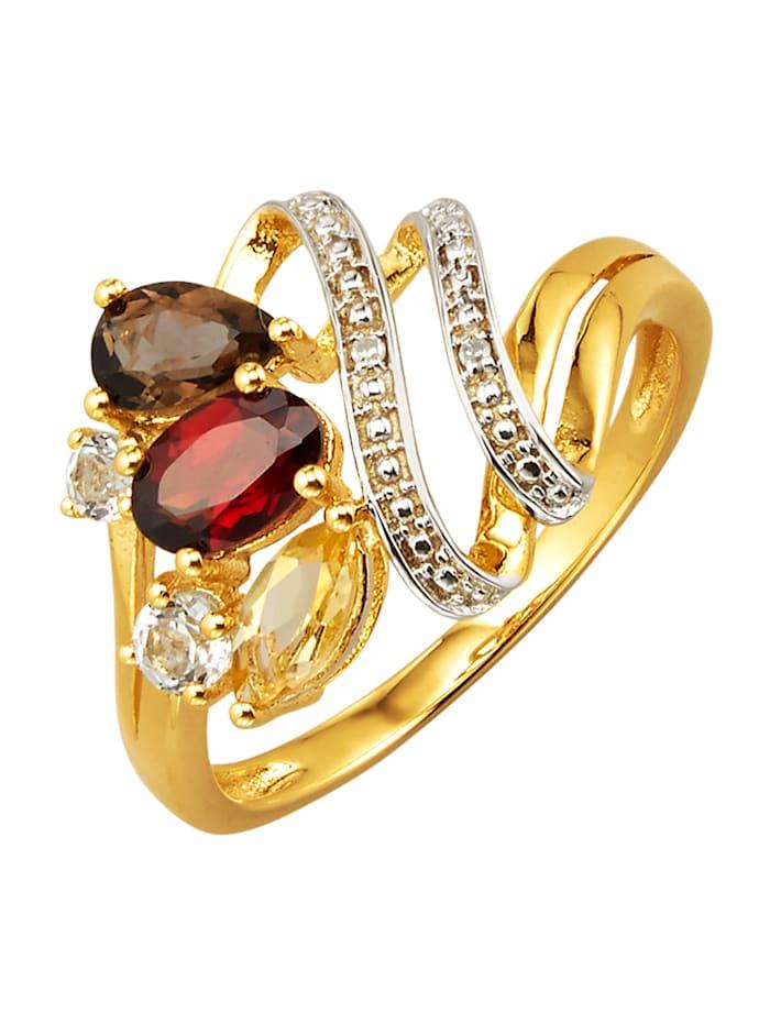 Damenring mit Granat, Citrin, Rauchquarz, Weißtopas und Diamant, Multicolor