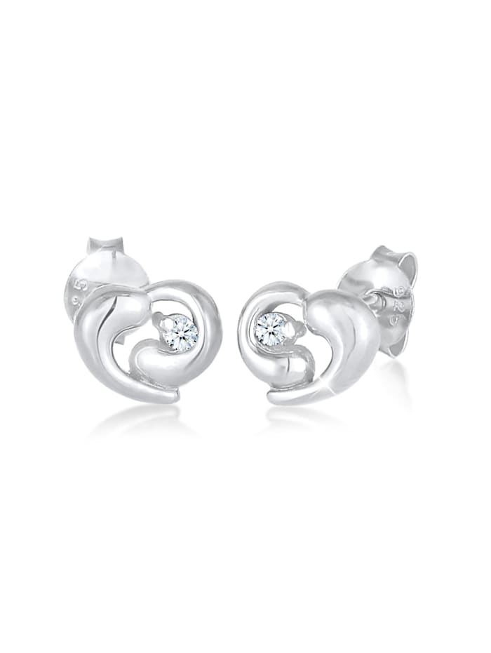 DIAMORE Ohrringe Stecker Herz Liebe Diamant (0.03Ct) 925 Silber, Silber