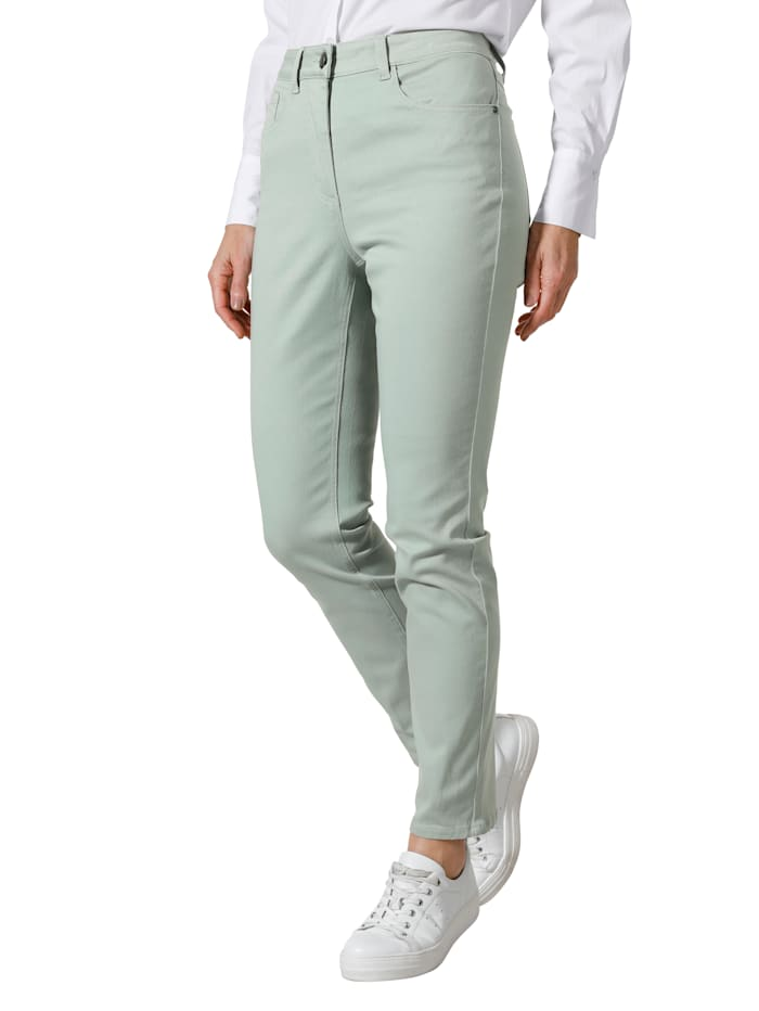 MONA Pantalon avec ceinture partiellement extensible en grandes tailles, Menthe