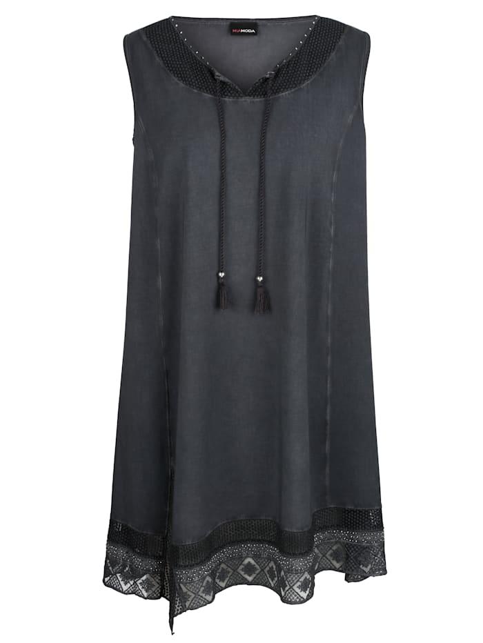 MIAMODA Kleid mit Spitzeneinsätzen, Anthrazit