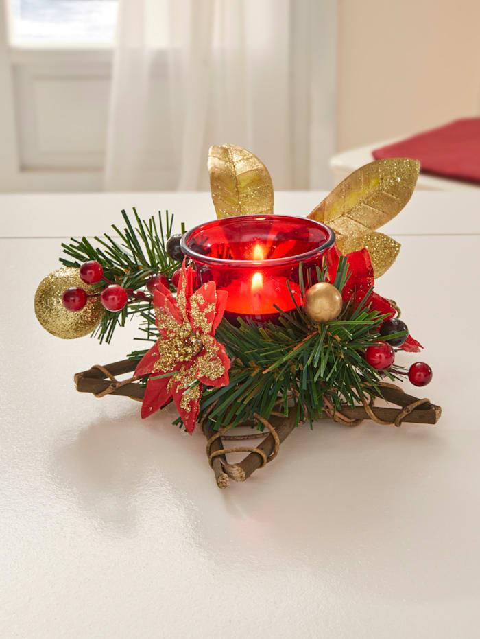 Waxinelichthouder Kerst, multicolor