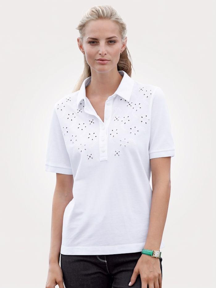 MONA Poloshirt aus reiner Baumwolle, Weiß