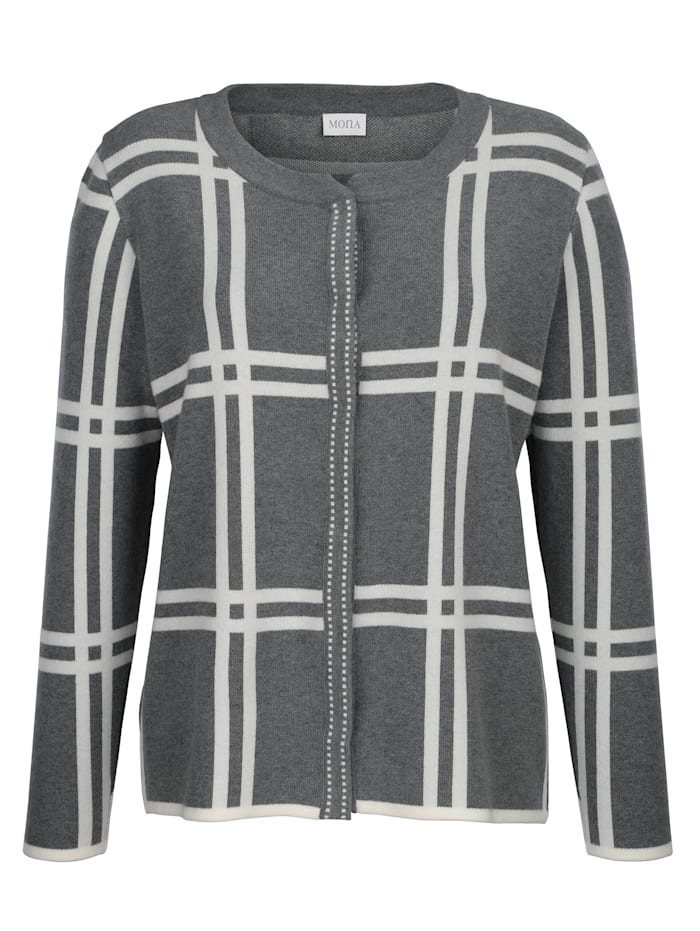 Cardigan with a chic check pattern