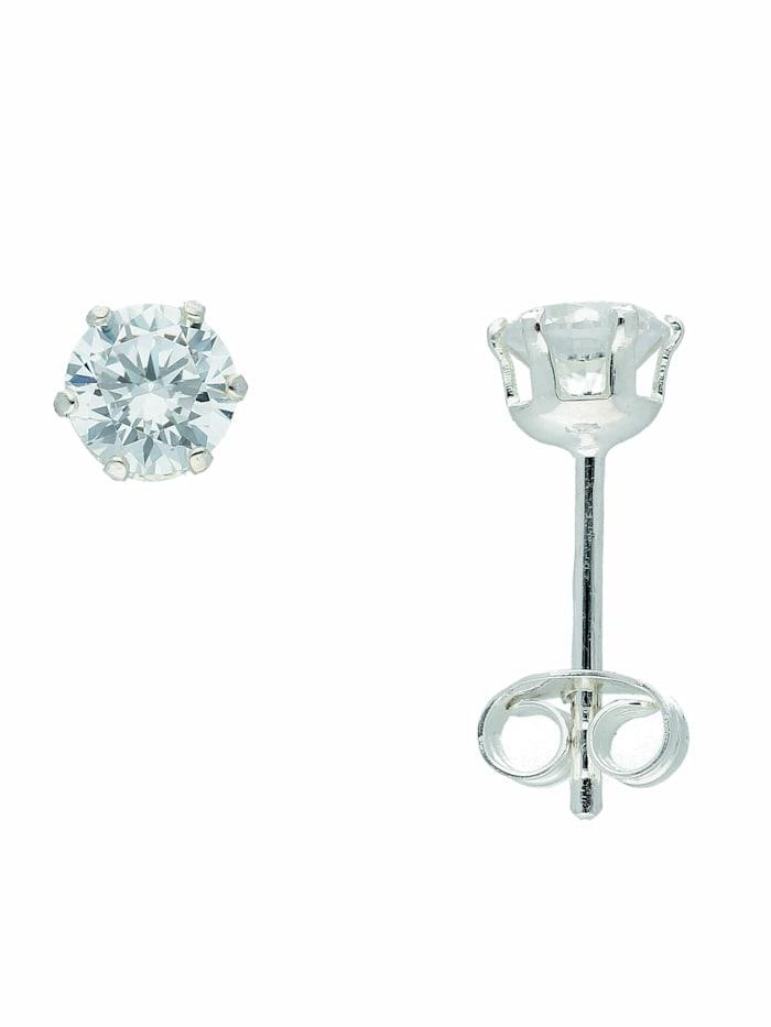 1001 Diamonds 1001 Diamonds Damen Silberschmuck 925 Silber Ohrringe / Ohrstecker mit Zirkonia Ø 5 mm, silber