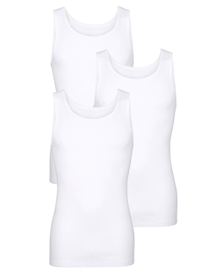 HERMKO Hihaton aluspaita luomupuuvillaa 3/pakkaus, 3x valkoinen
