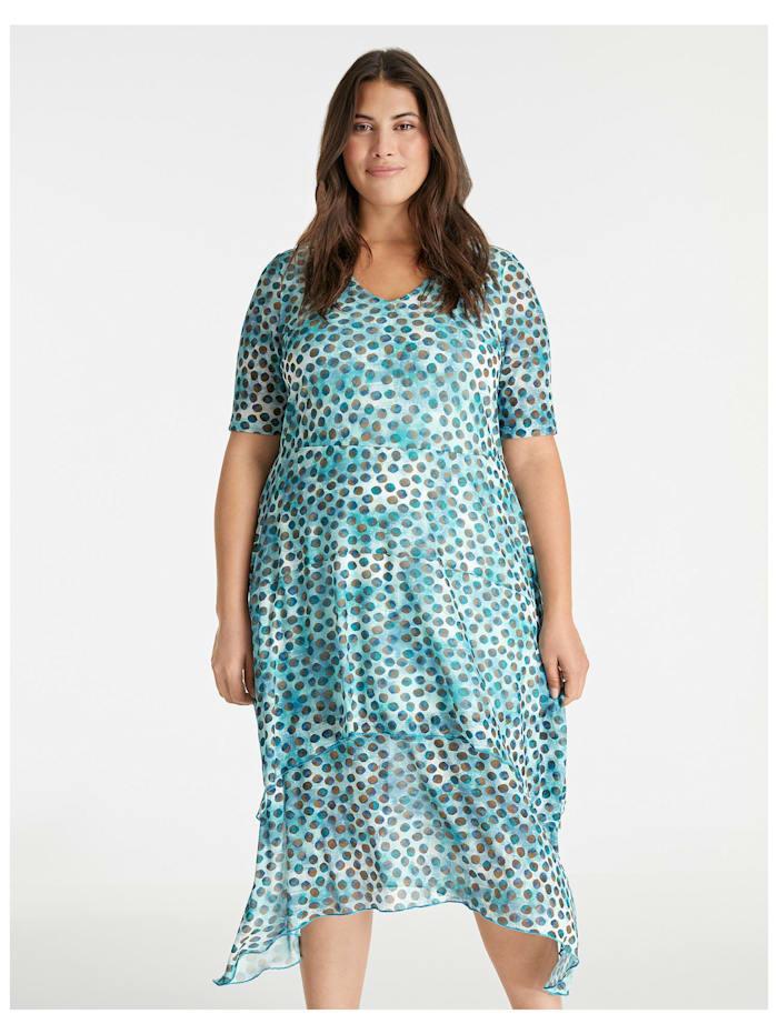 Samoon Sommerkleid mit Zipfelsäumen, Cameo Blue gemustert