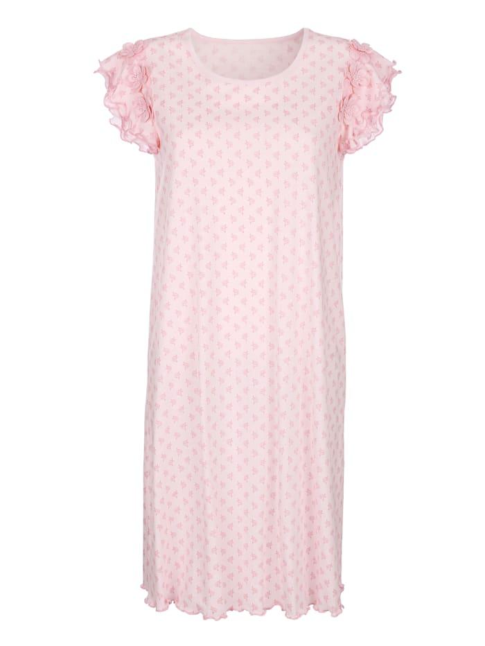 Simone Nachthemd met romantisch geschulpte zomen, Roze/Ecru