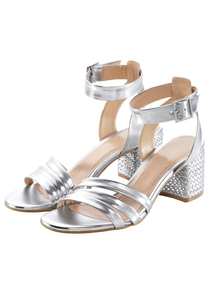 BRUNO PREMI Sandalette im metallischen Look, Silberfarben