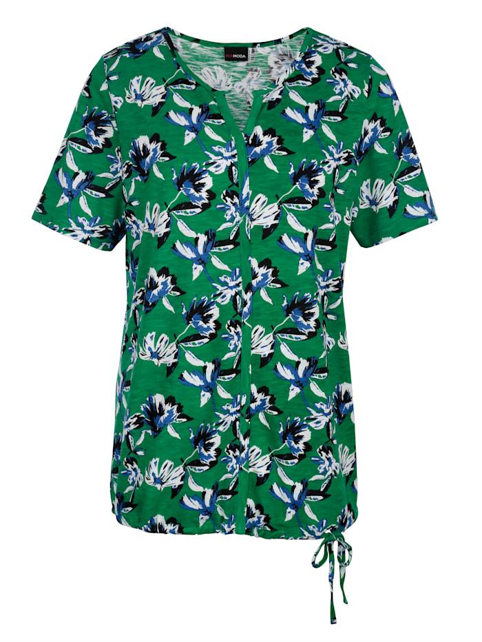Shirt met bindbandje aan de zoom