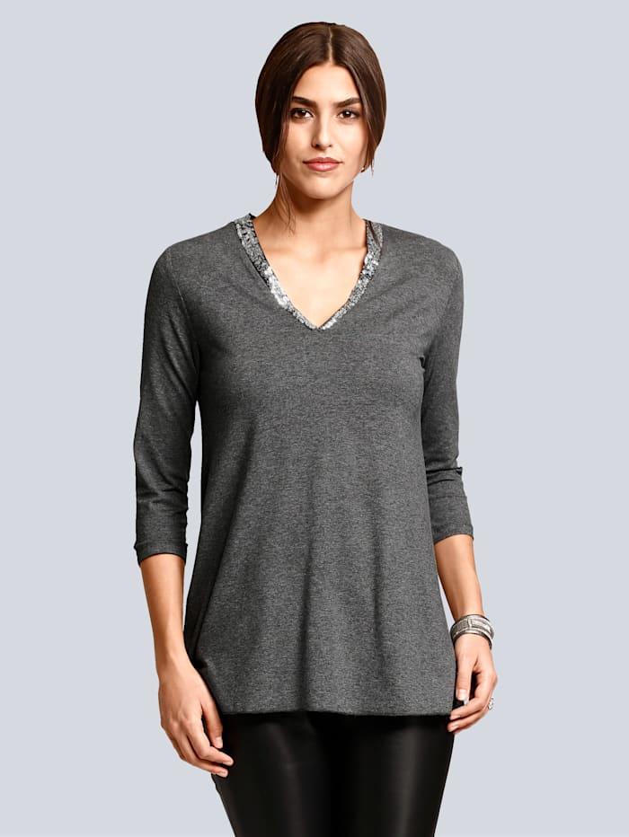 Alba Moda Shirt met pailletten aan de hals, Antraciet