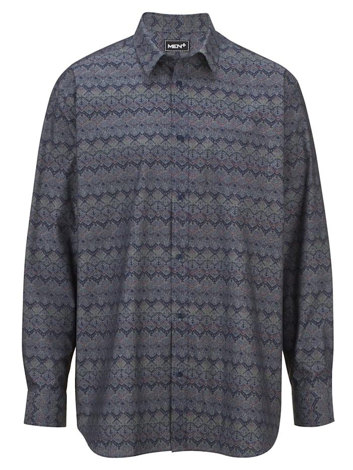 Men Plus Hemd Spezialschnitt, Marineblau/Lila