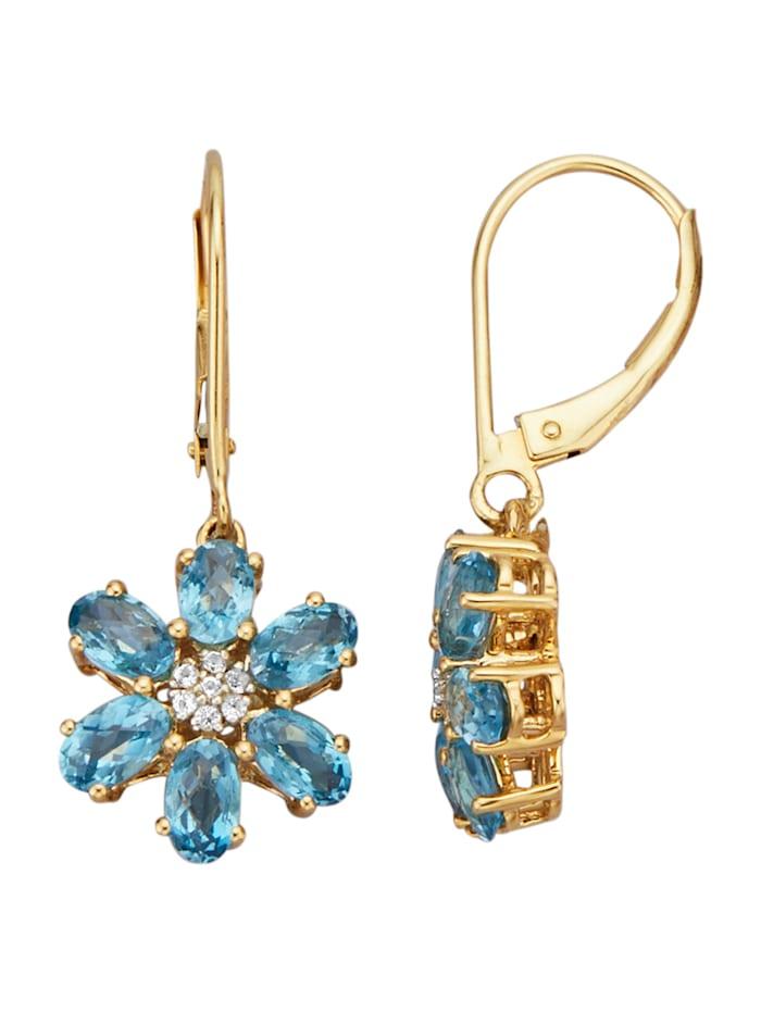 Amara Pierres colorées Boucles d'oreilles avec topazes bleues, Bleu