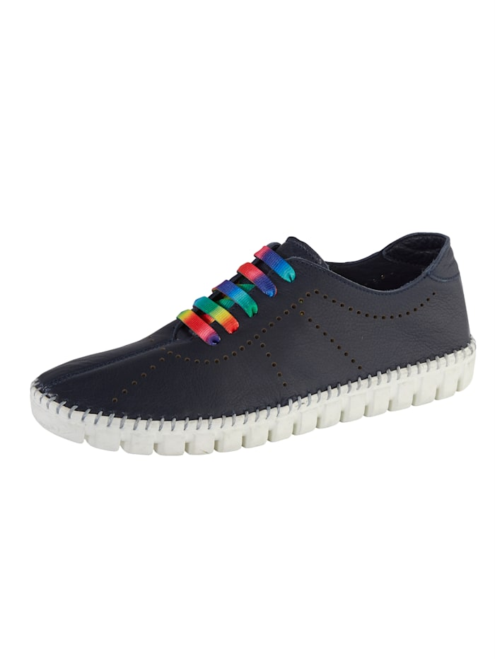 Gemini Lace-up shoes with colourful laces, Navy