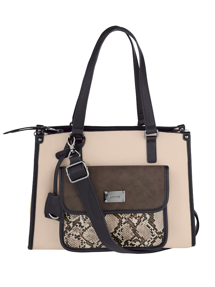 Picard Handbag with an elegant snake print, Beige/Multi