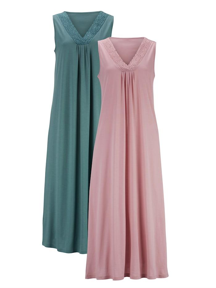 Harmony Nightdress with pretty lace neckline, Jade/Rose