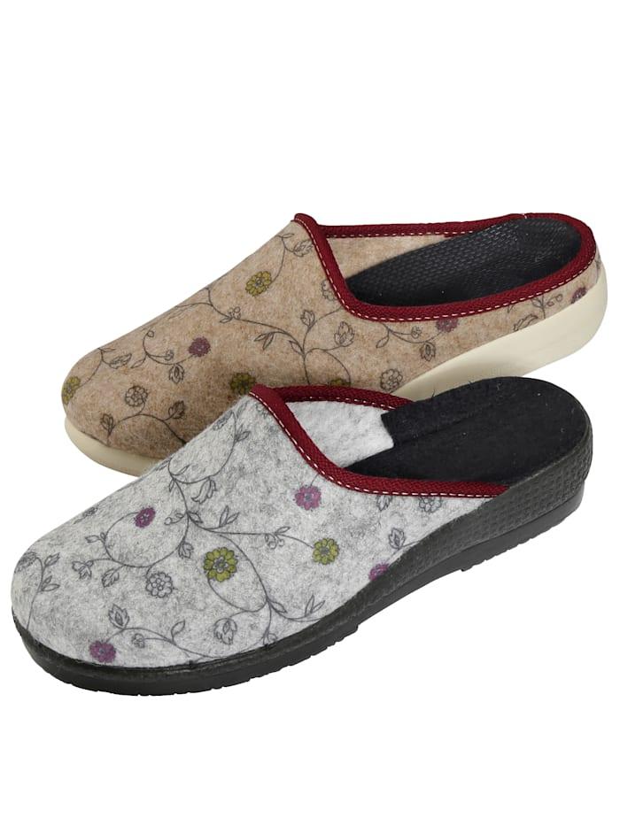 Belafit Pantoffeln im 2-er Pack, Grau/Beige