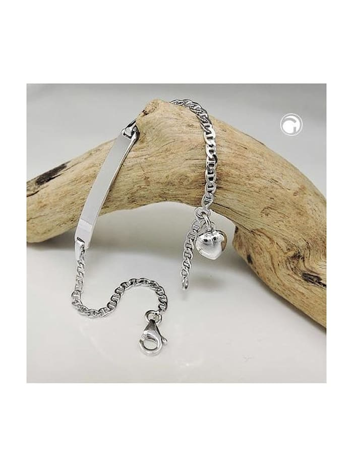 Gallay Schmuckgroßhandel Schildarmband für Kinder 2mm Stegpanzerkette Gravurplatte 25x4mm und Herz rhodiniert Silber 925 14cm, silber
