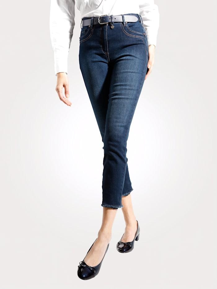 MONA Jeans mit modischer Fransen-Zier, Dunkelblau