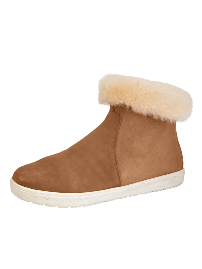Caprice Ankle boots with a lambswool collar, Light Brown