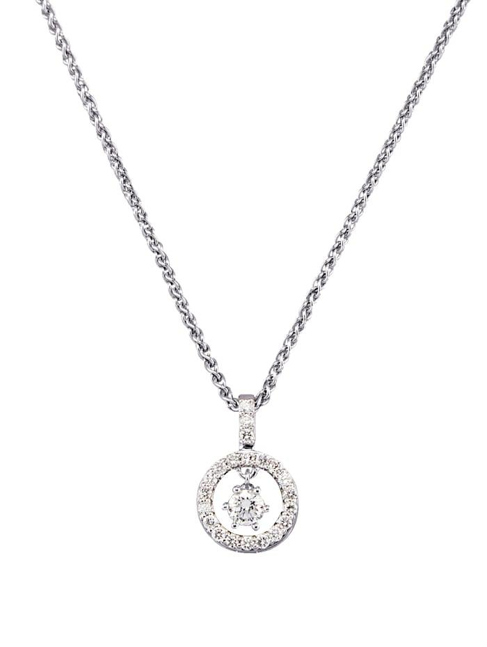 Diemer Diamant Valkokultainen timanttiriipus ja kaulaketju, Valkoinen