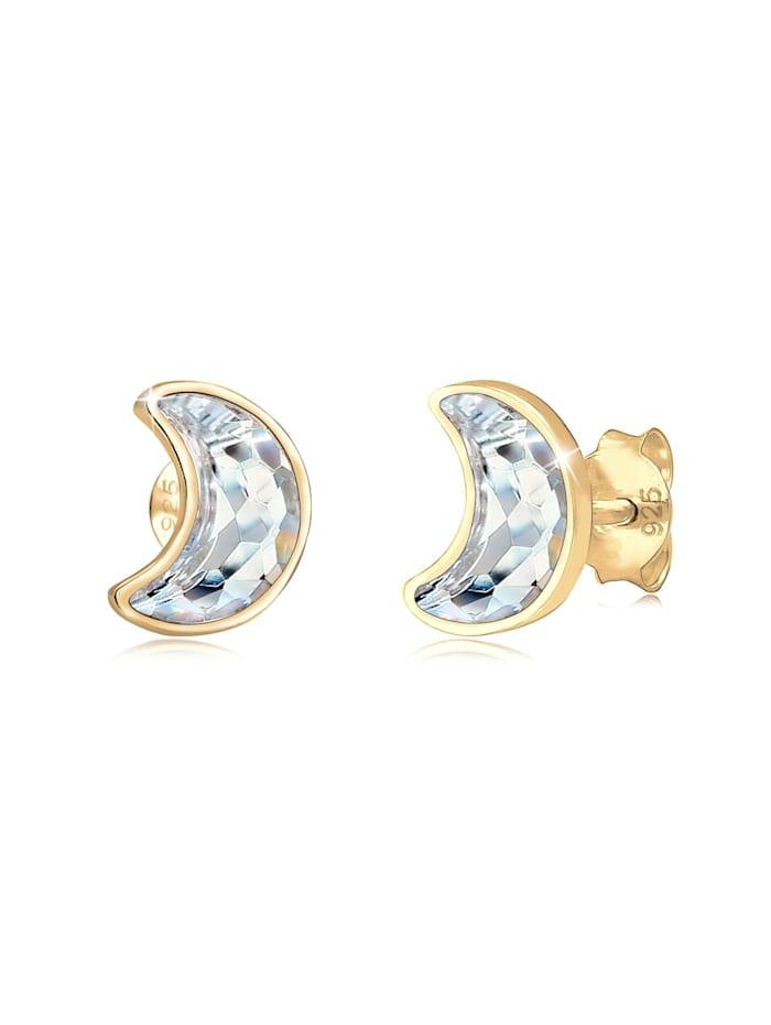 Elli Ohrringe Stecker Halbmond Kristalle 925 Silber, Gold