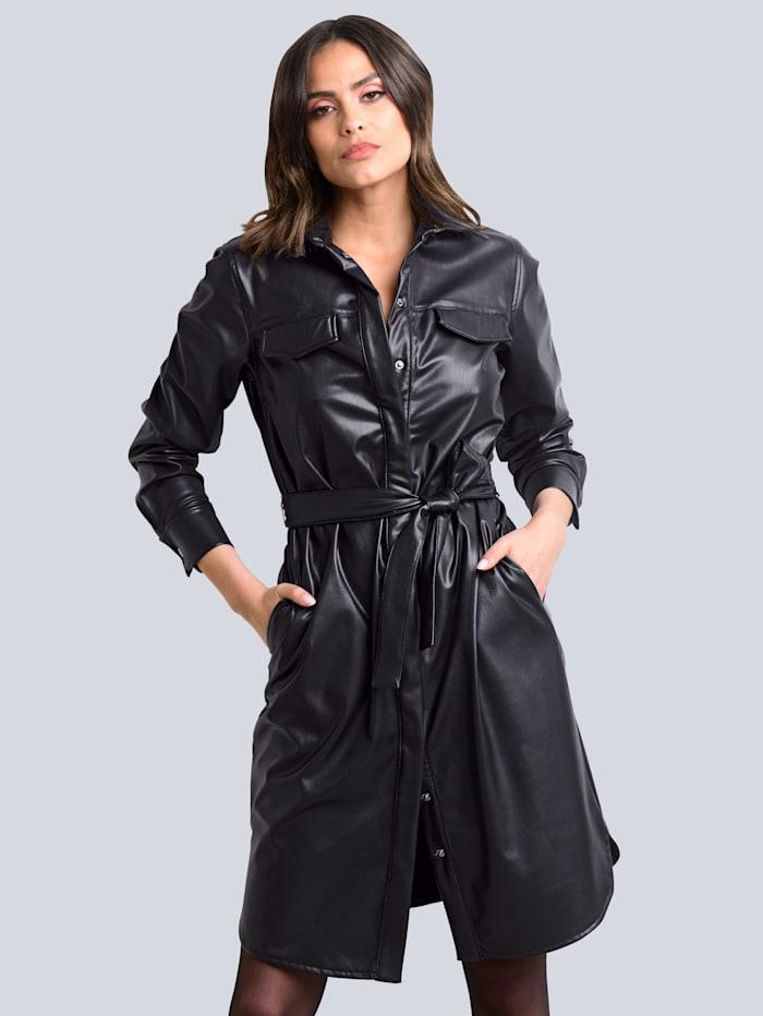 Alba Moda Kleid aus Kunstleder, Schwarz