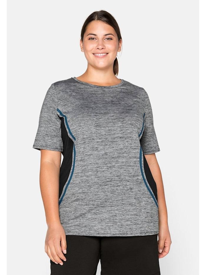 Sheego Sheego T-Shirt mit seitlichen Kontrasteinsätzen, grau-schwarz
