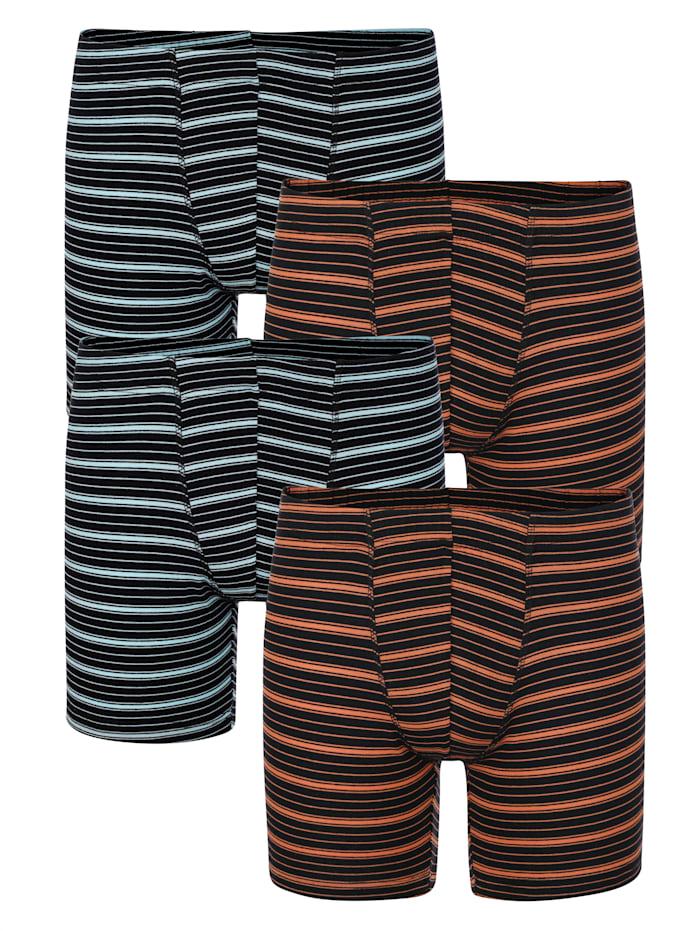 Lange boxershorts per 4 stuks, Terracotta/Lichtblauw