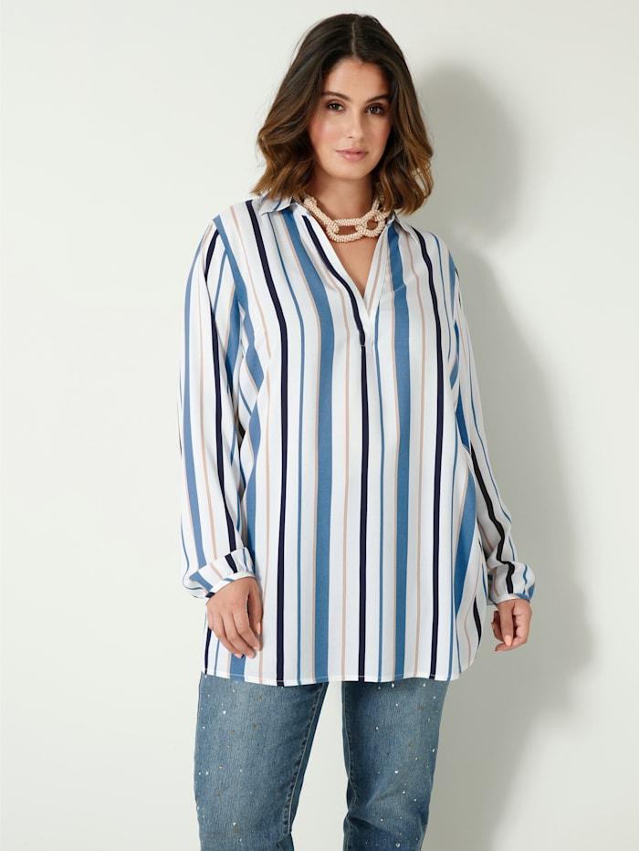 Sara Lindholm Bluse mit streckendem Streifenmuster, Weiß/Jeansblau