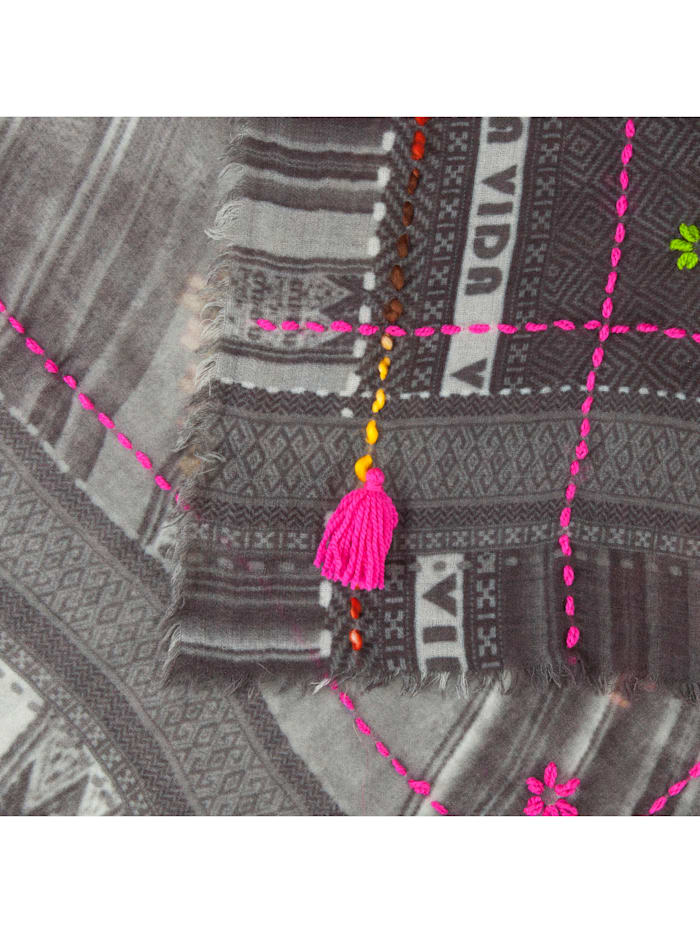 Art School Ethno-Schal aus Wolle und Modal