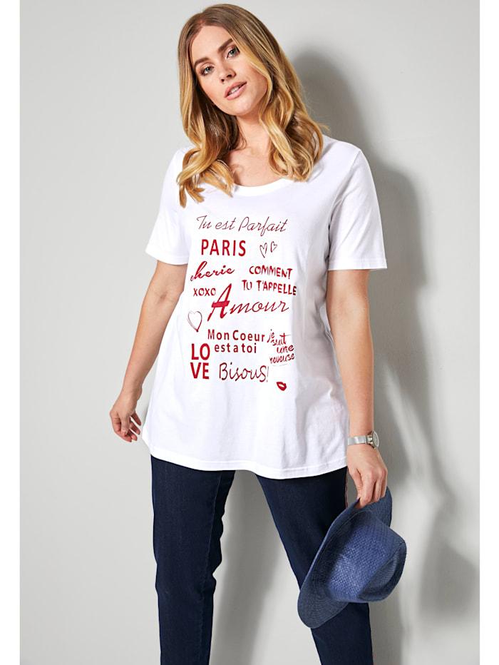 Sara Lindholm Shirt mit Schriftzug, Weiß/Rot