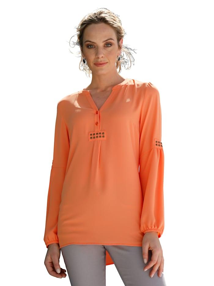 AMY VERMONT Blouse avec plaquettes métalliques devant et sur les manches, Orange