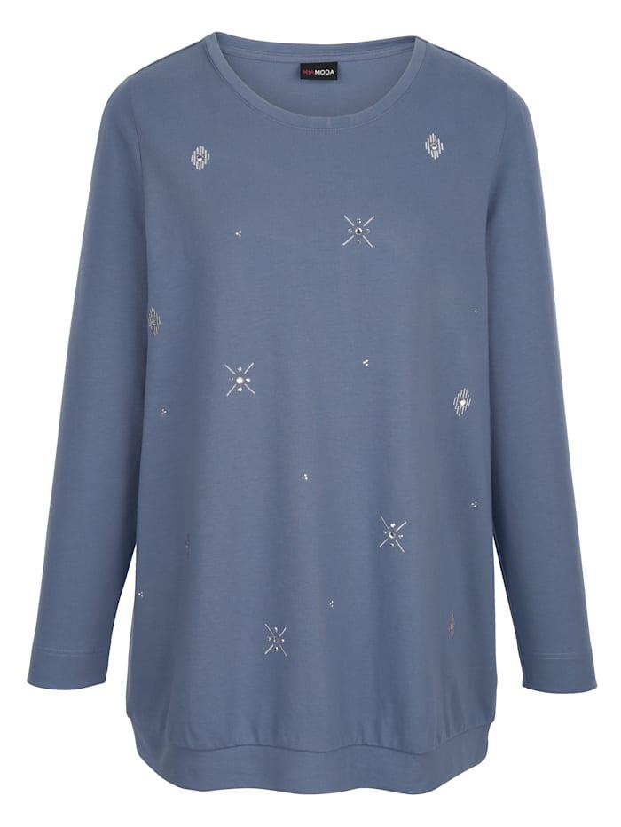Sweatshirt mit Stickereien und Steinchen