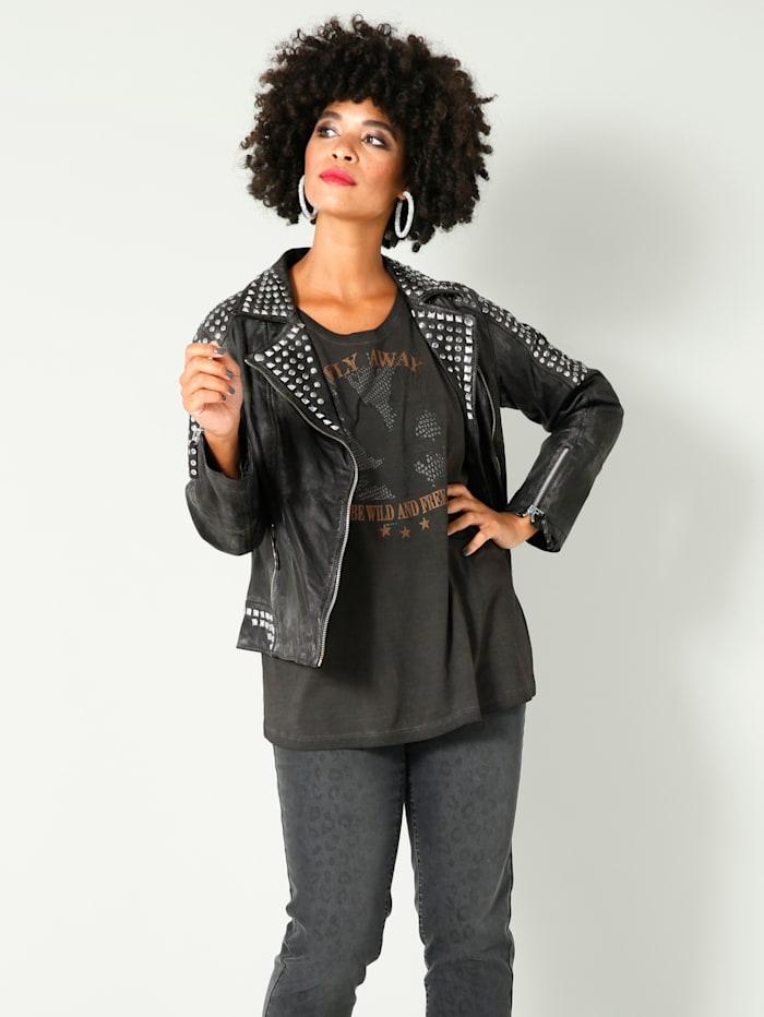 Angel of Style Kožená bunda s nýty na límci, ramenou a rukávech, Tmavá šedá