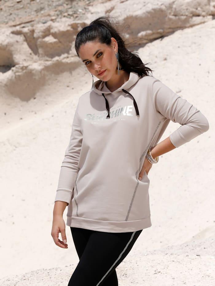 MIAMODA Sweat-shirt à imprimé sérigraphié, Beige/Coloris argent