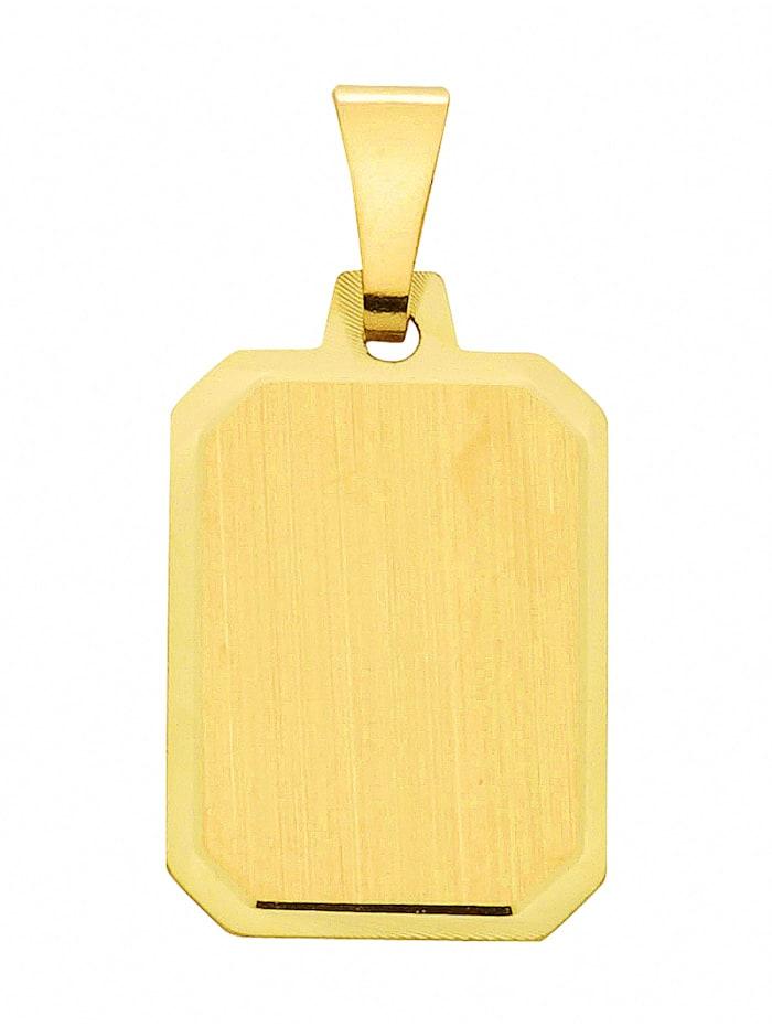 1001 Diamonds Damen Goldschmuck 585 Gold Gravurplatte Anhänger, gold