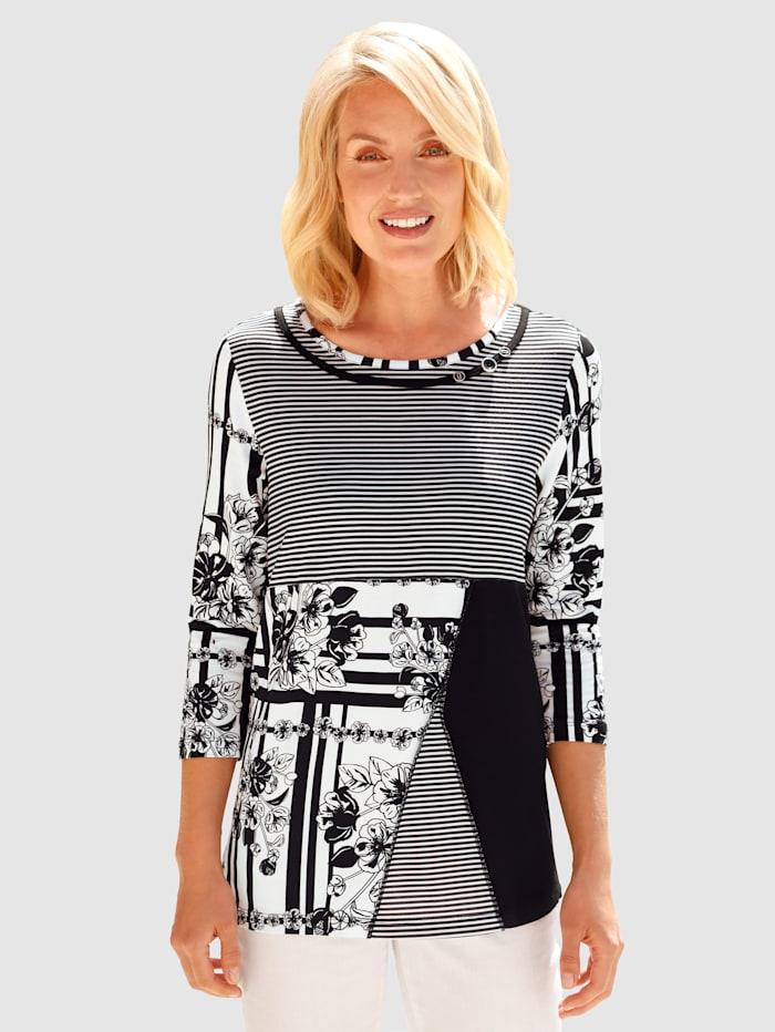 Paola Shirt met trendy print, Zwart