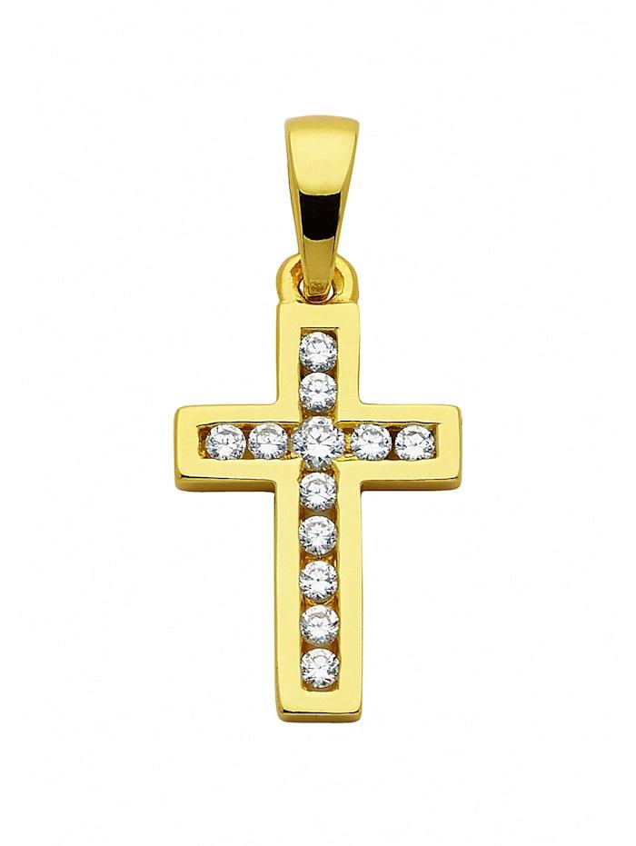1001 Diamonds Damen & Herren Silberschmuck 925 Silber Kreuz Anhänger mit Zirkonia, vergoldet