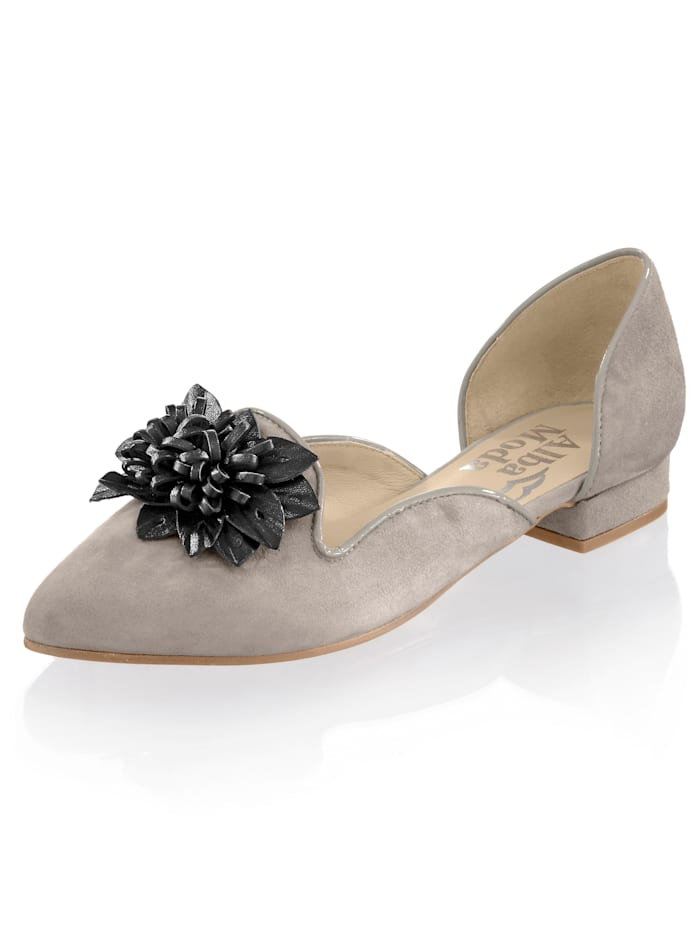 Alba Moda Ballerines à application florale en cuir, Gris/Noir