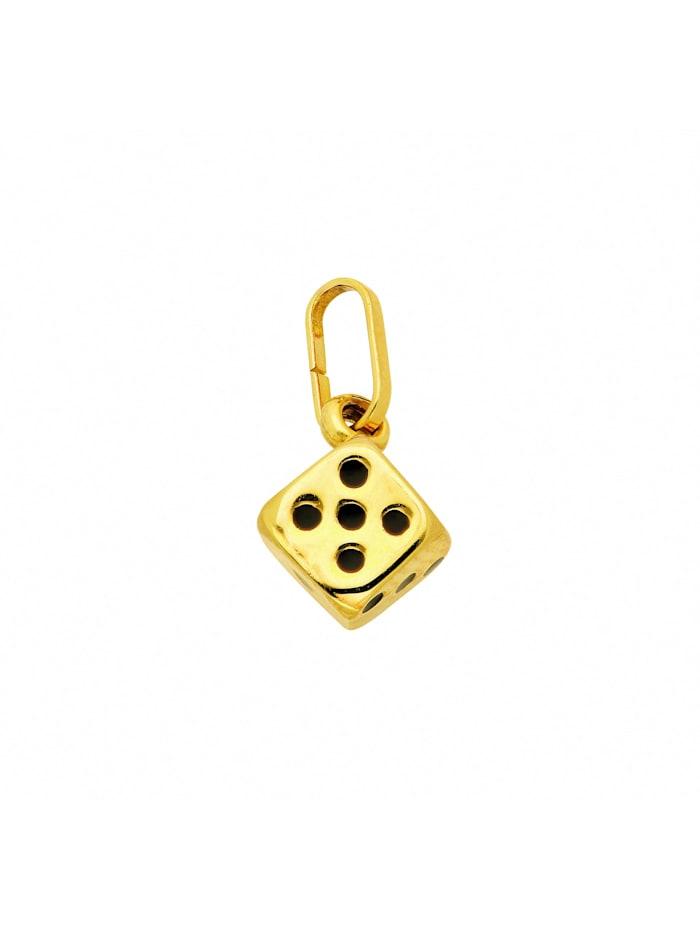 1001 Diamonds Damen Goldschmuck 333 Gold Anhänger Würfel, gold