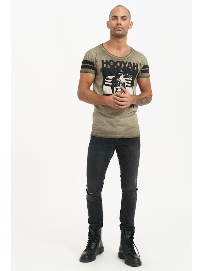 trueprodigy T-Shirt Devin mit coolem Frontprint, 0629-khaki