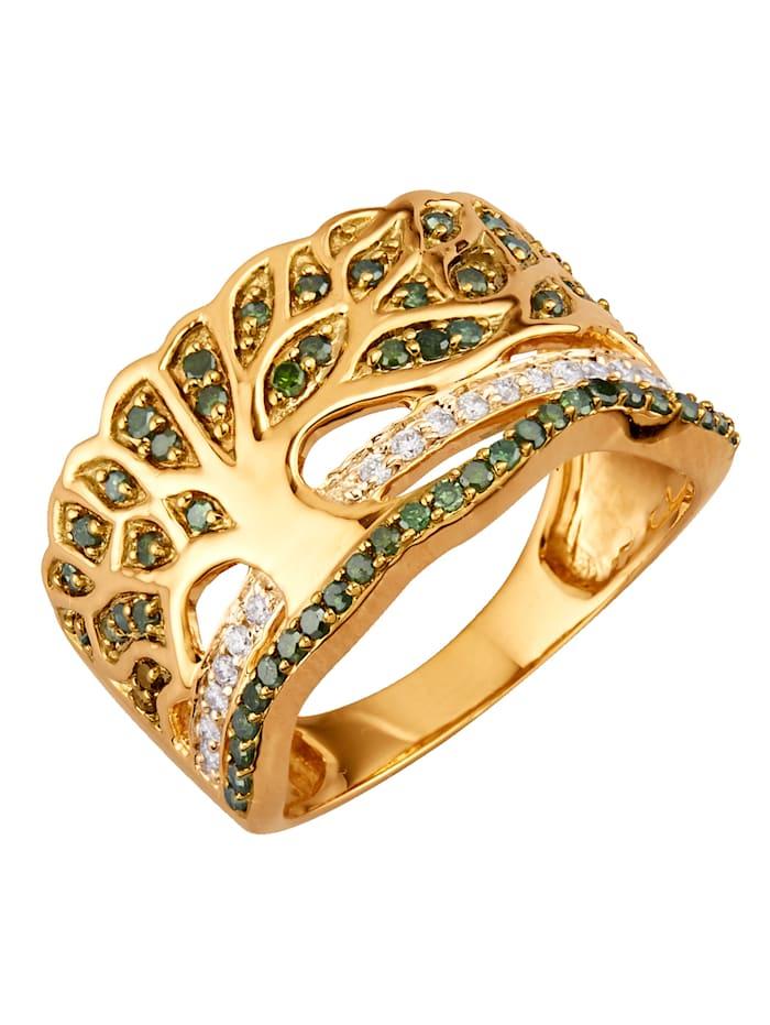 Diemer Diamant Bague Arbre de Vie, Vert