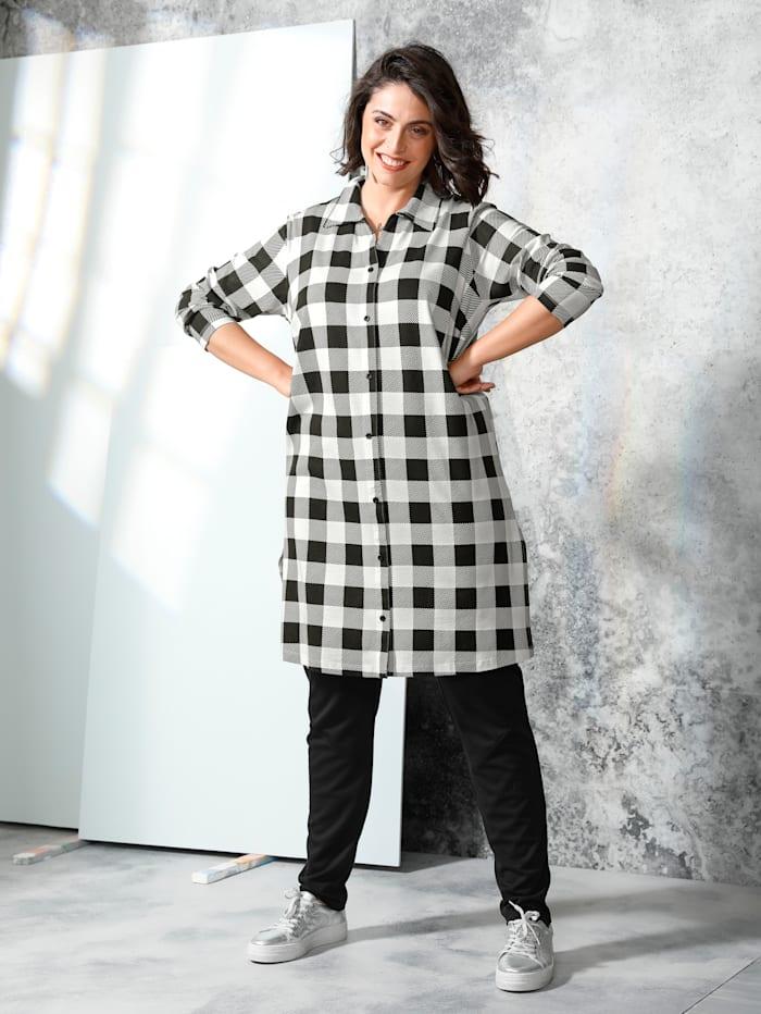 MIAMODA Shirtbluse mit Karomuster, Schwarz/Weiß