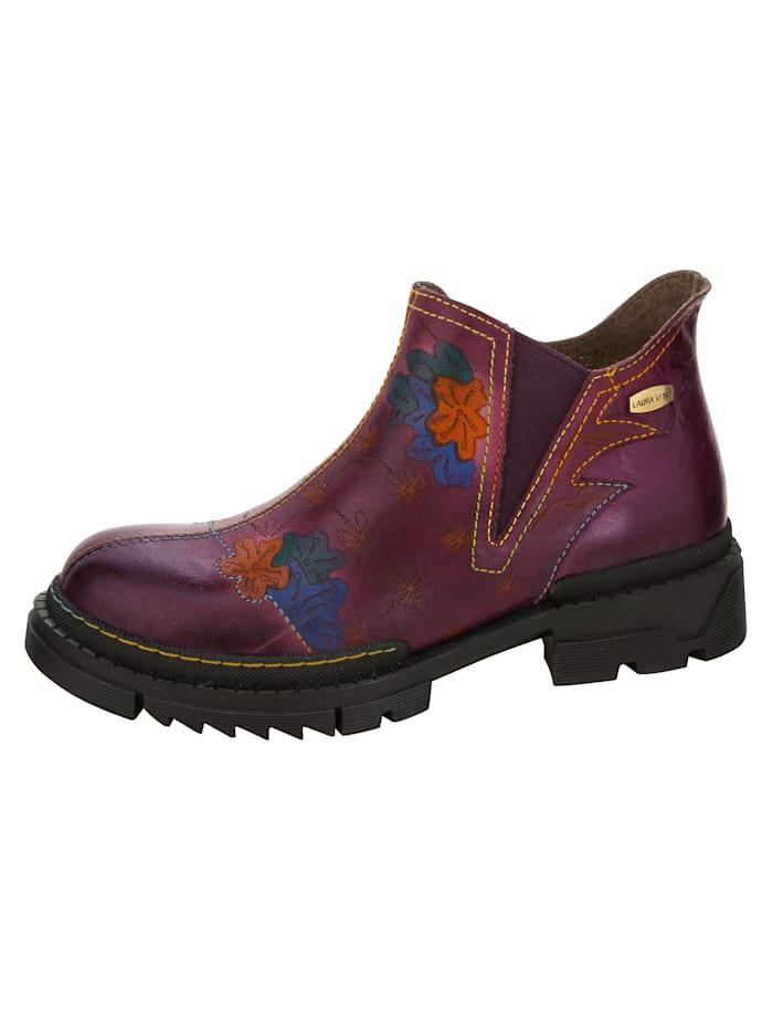 Laura Vita Chelsea Boot mit bemalter Blütenapplikation, Violett