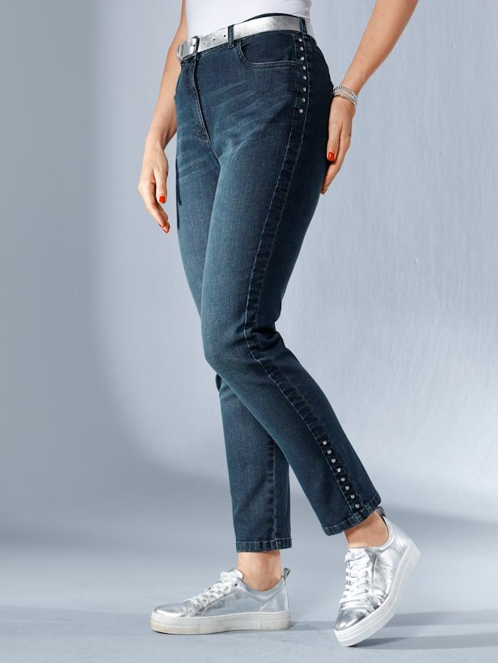 MIAMODA Jeans seitlich mit Strasssteinen besetzt, Dark blue