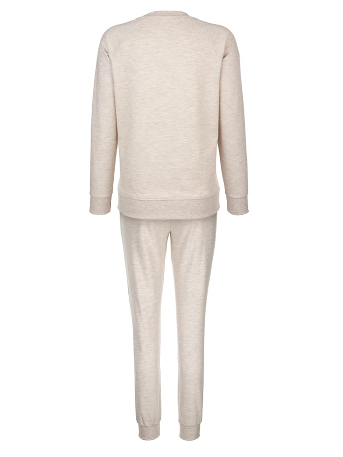Loungewear set with contrast piping