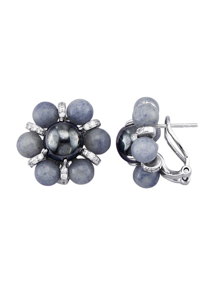 Boucles d'oreilles avec pierres fantaisie de couleur, Bleu